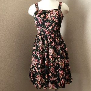 NEW Lauren Conrad Black Floral Pattern Tie Dress